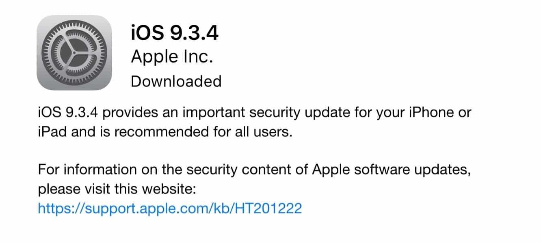 Apple releases iOS 9.3.4 'security update'