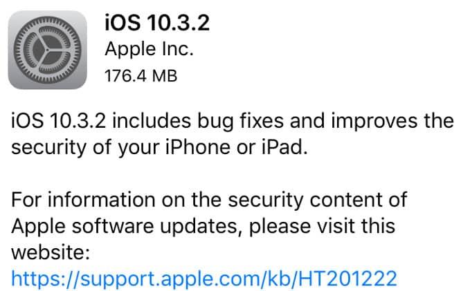 Apple releases iOS 10.3.2, tvOS 10.2.1, watchOS 3.2.2, iTunes 12.6.1