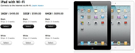 iPad 2 now available for order online