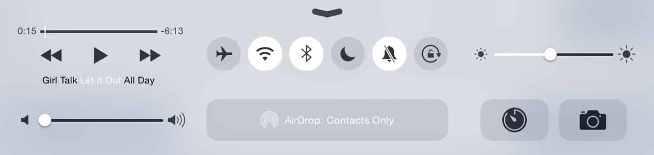 iPad Air 2 Control Center features separate mute and rotation buttons