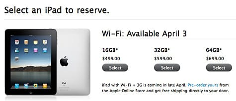 iPad pre-orders limited to two per person