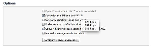 Boost iTunes' automatic conversion bit rate