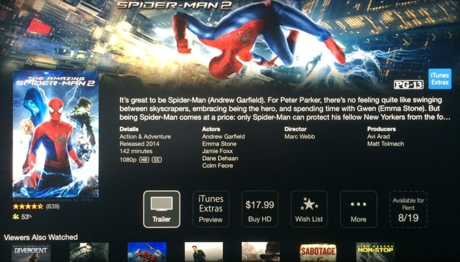 iTunes Extras Preview added to Apple TV