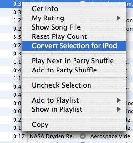 iTunes Right Click to Convert