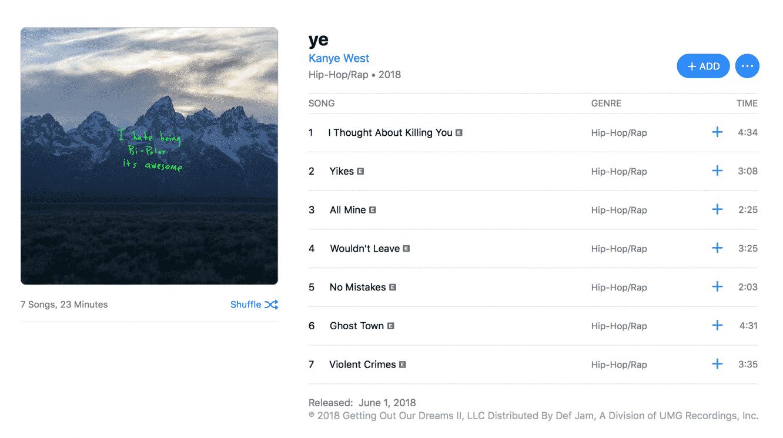 Kanye West's 'ye' debuts on Apple Music