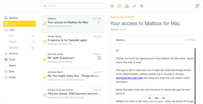 Dropbox Mailbox for Mac