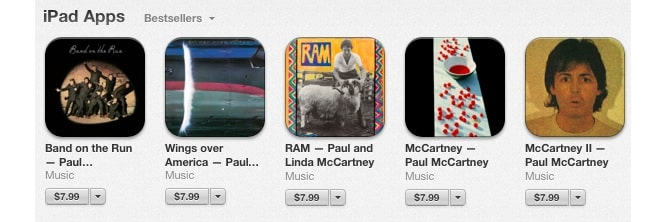 Paul McCartney re-releases five classic albums as iPad apps