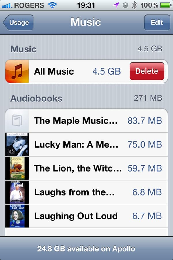 Deleting your on-device iOS music library with one swipe