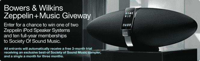 B&W Zeppelin + Music Giveaway – Winners Announced