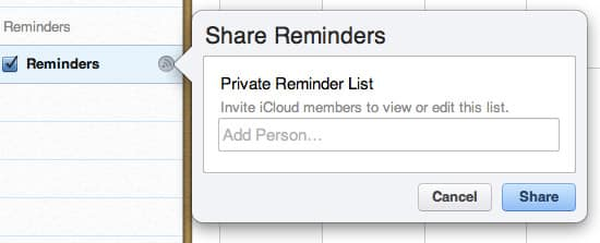 Sharing Reminders over iCloud