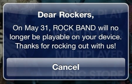 Rock Band for iOS to stop working on May 31st?