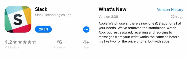 Slack drops Apple Watch app