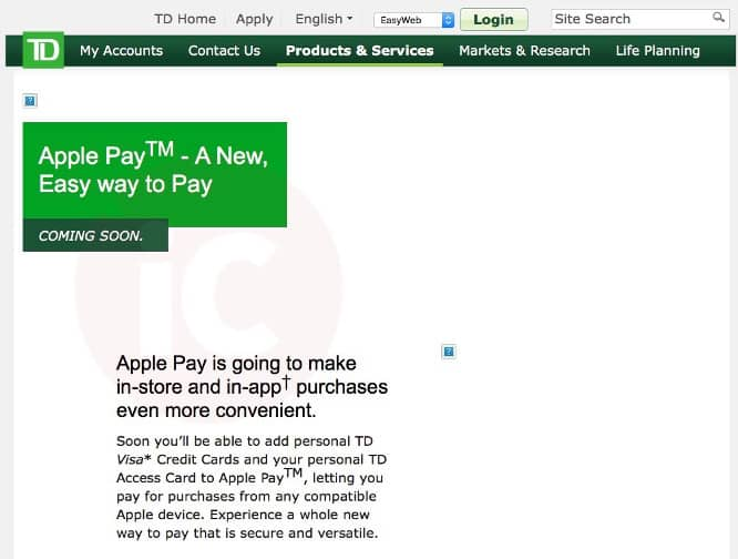 TD Canada Trust mistakenly releases Apple Pay update on its website