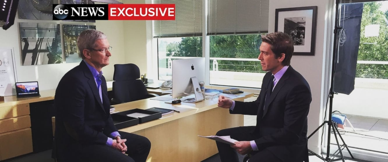 Tim Cook to discuss Apple's battle with the FBI on ABC's World News Tonight