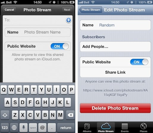Sharing Photo Streams as a Web Site