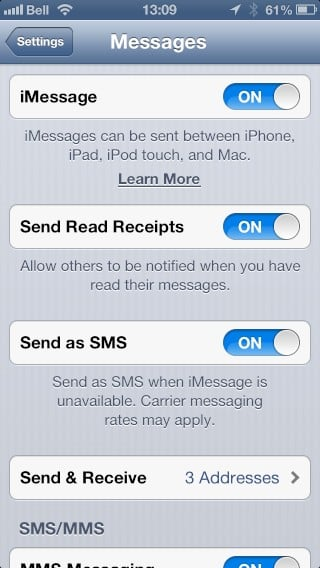 Turning off Read Receipts for iMessages