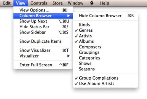 Filtering Playlists with the Column Browser