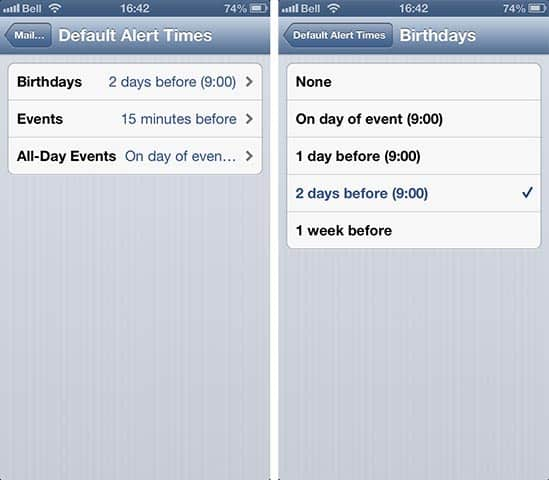 Setting Default Alert Times in iOS