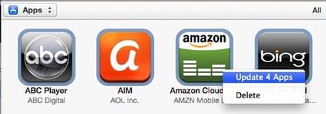 Updating Apps in iTunes 11.0.3