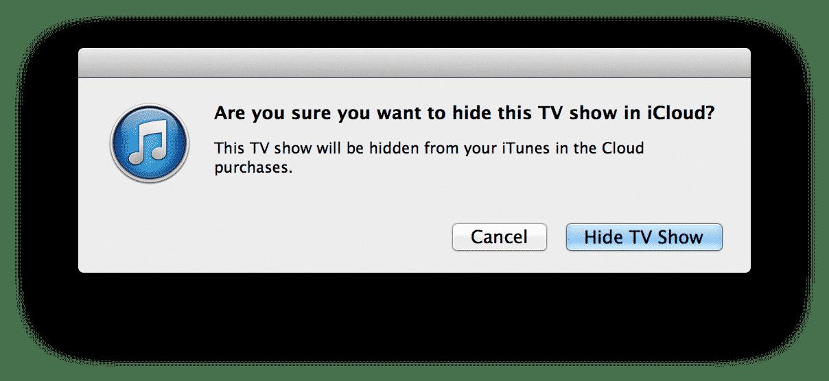 Quickly hiding iCloud media content in iTunes