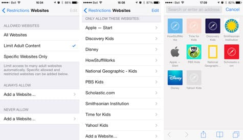 Restricting web access in iOS 7