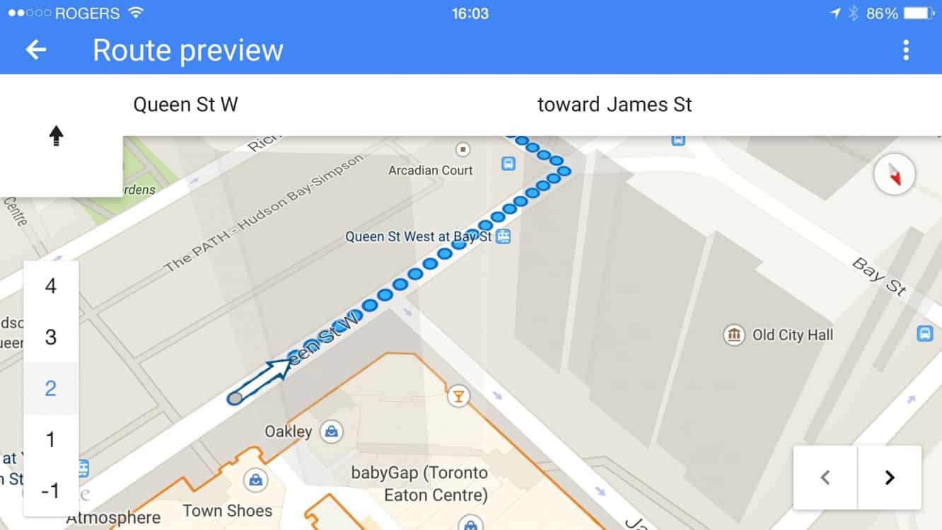 Getting haptic feedback for walking directions in Google Maps