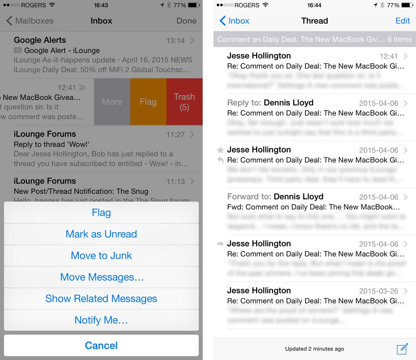 Showing full conversation threads in iOS Mail
