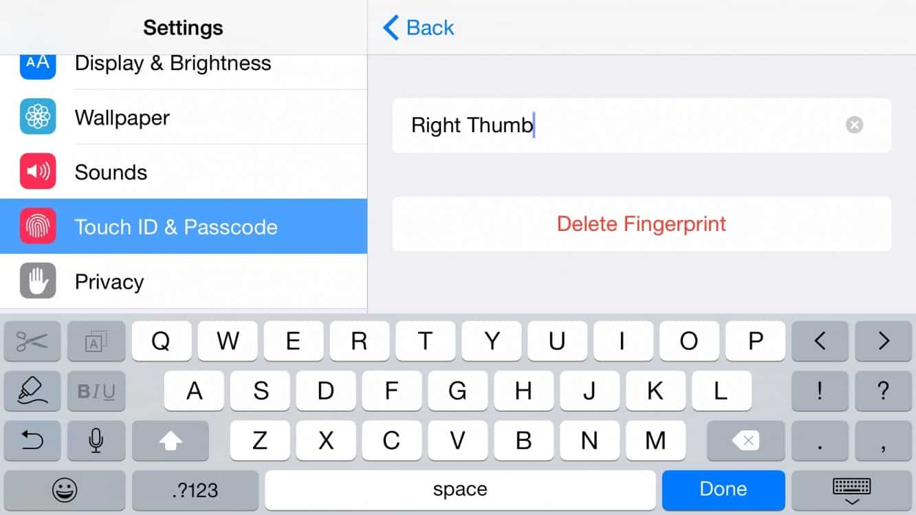 Naming your Fingerprints for Touch ID