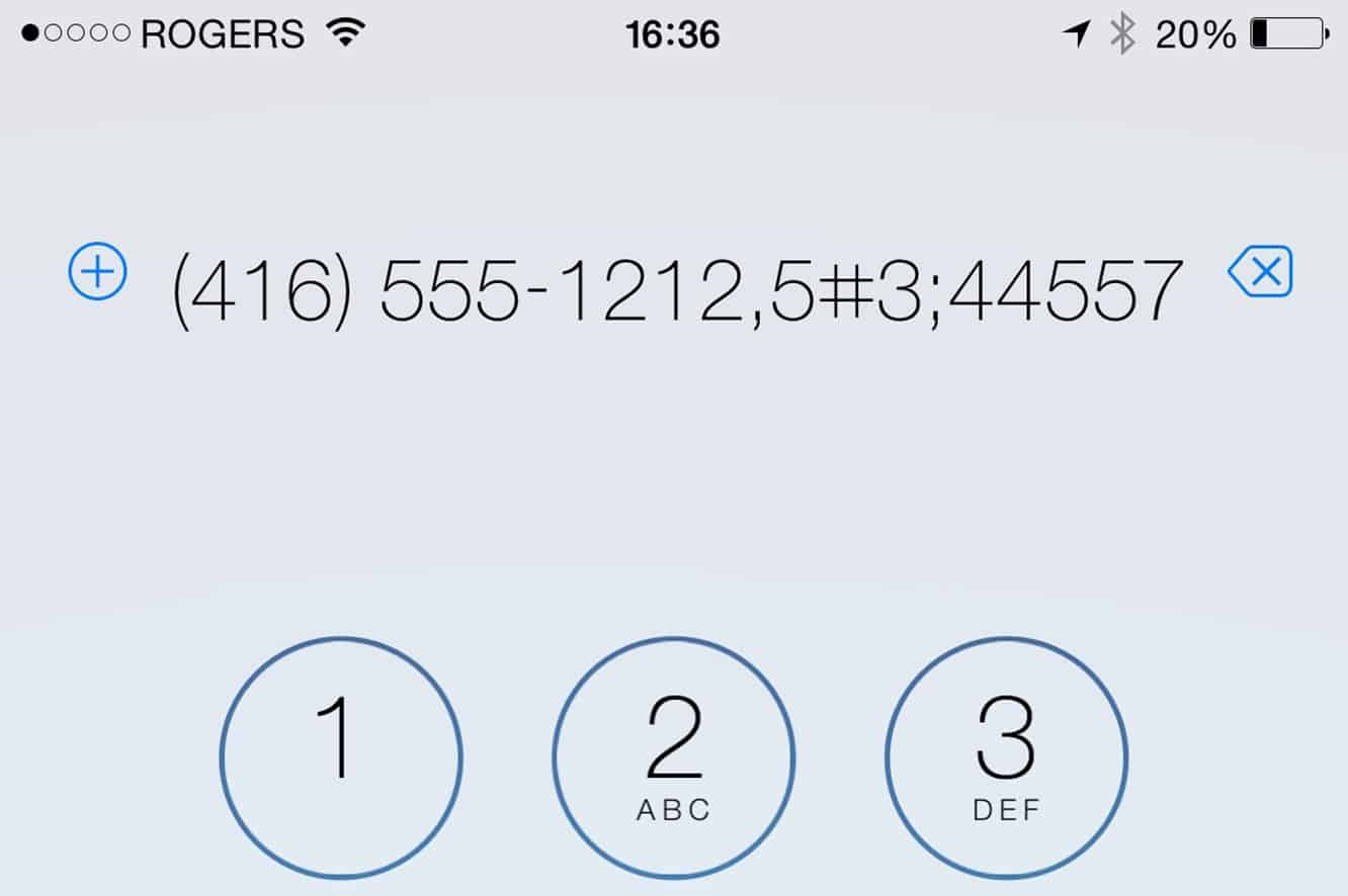 Inserting Pauses when Dialing a Phone Number