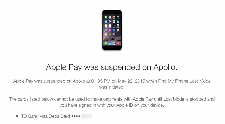 Suspending or removing Apple Pay via iCloud