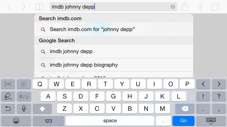 Using Quick Website Search in Mobile Safari