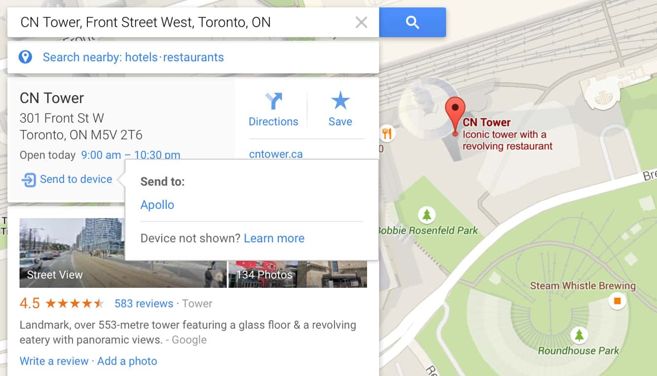 Sending locations from your desktop to your iPhone in Google Maps