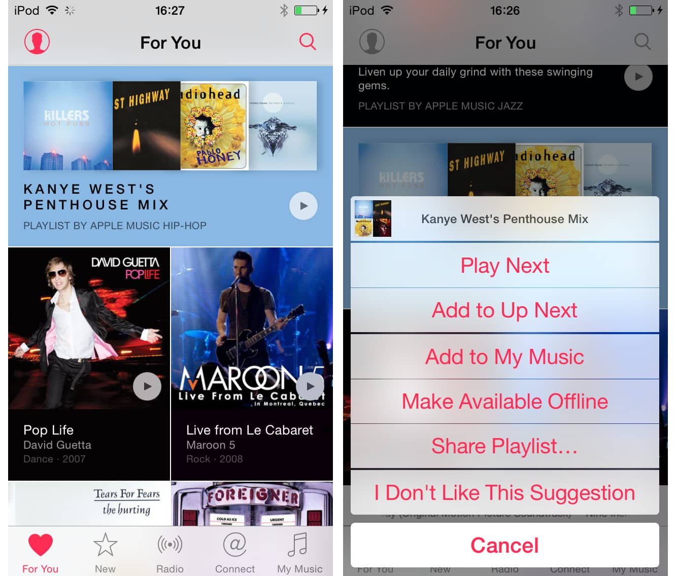 Disliking 'For You' suggestions in Apple Music