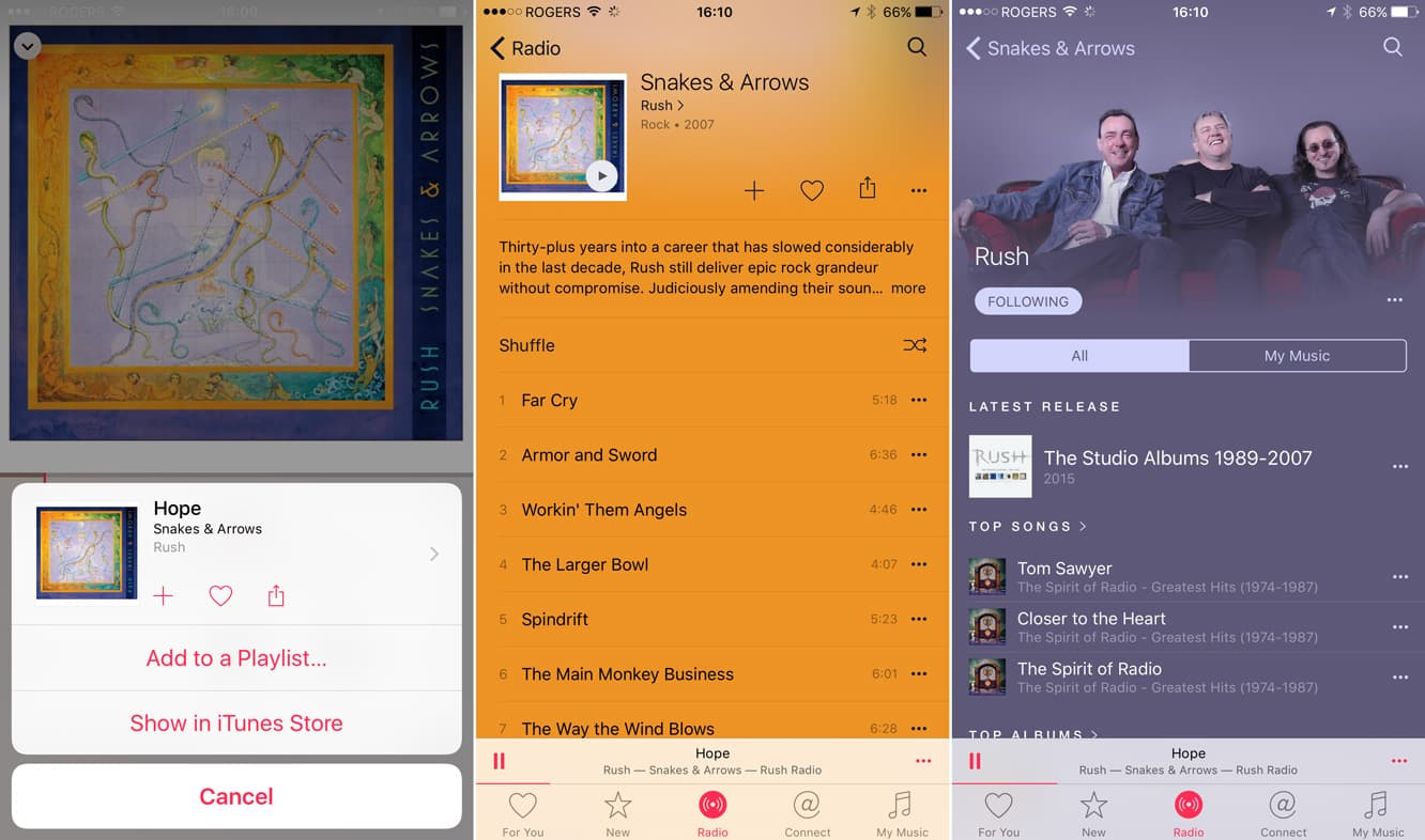 Accessing a song's album in the iOS 8.4 Music app