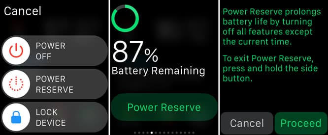Using the Apple Watch Power Reserve mode
