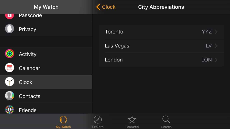 Customizing World Clock City Abbreviations on Apple Watch