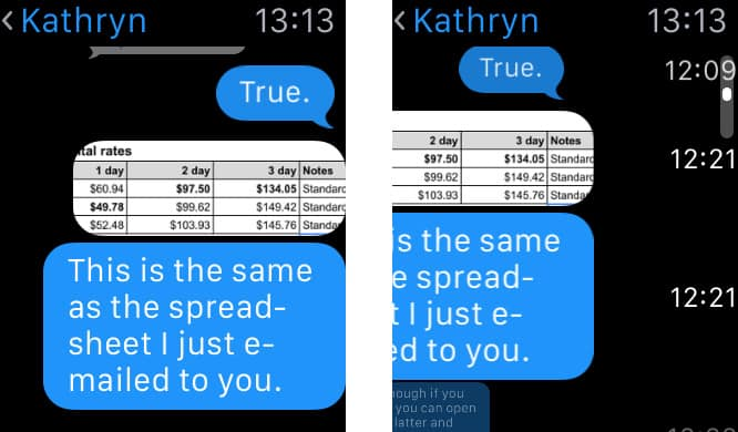 See when messages were received on an Apple Watch