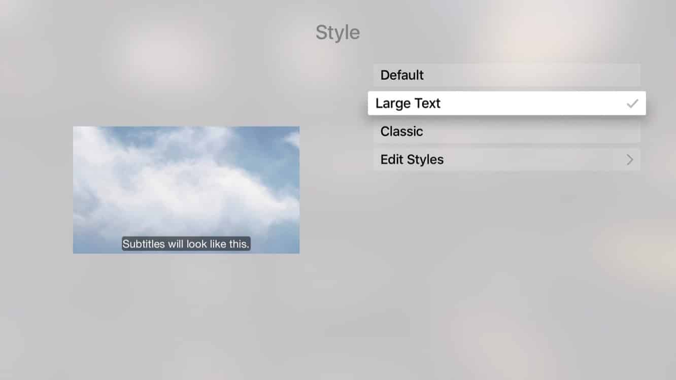 Customizing the appearance of Subtitles on the Apple TV