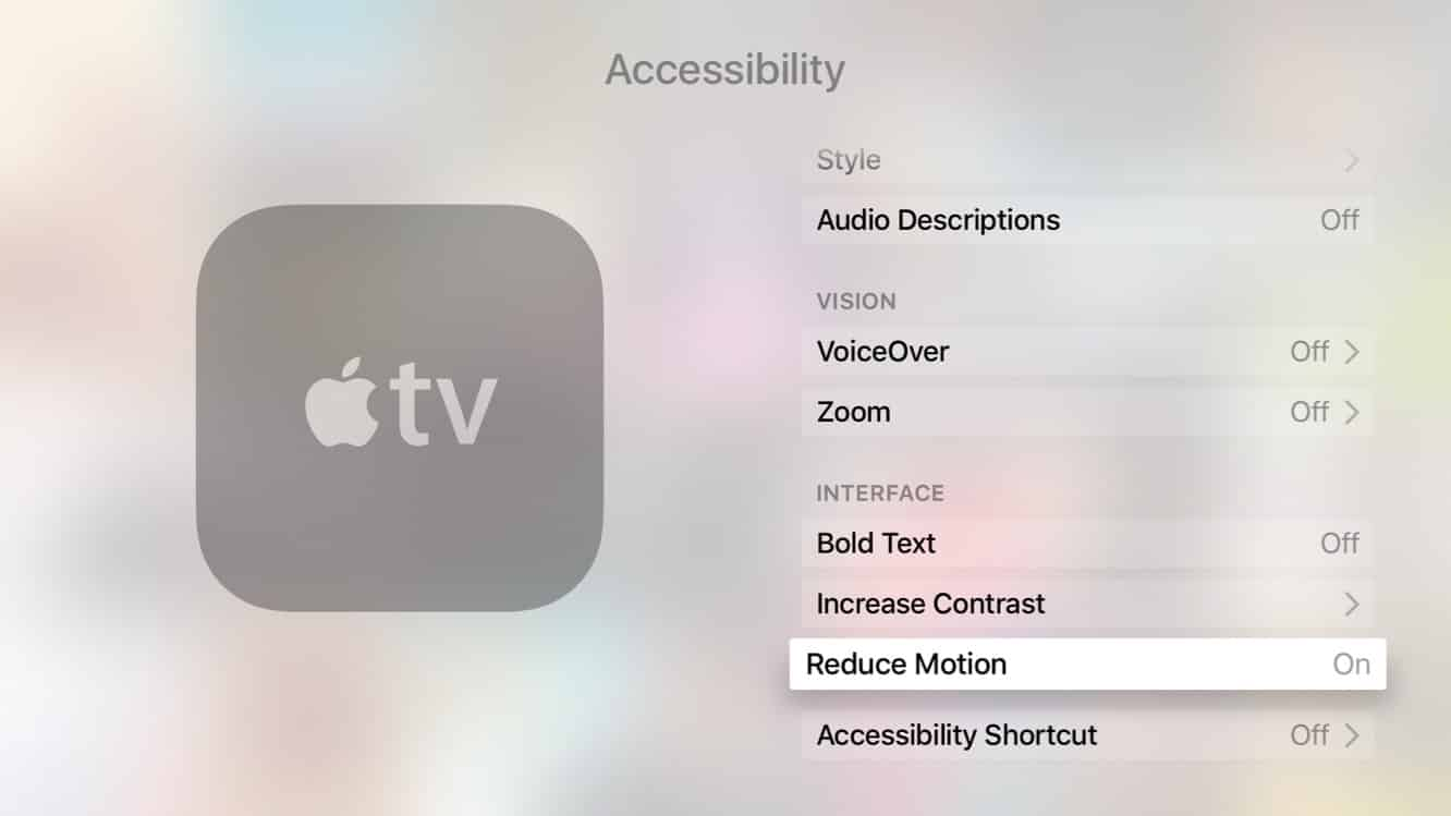 Reducing Screen Motion on the new Apple TV