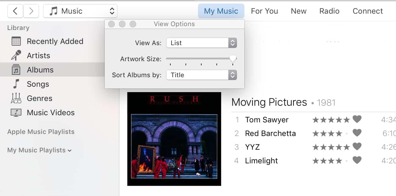 Adjusting Artwork Size in iTunes 12.4