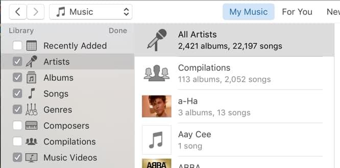 Choosing Sidebar Categories in iTunes 12.4
