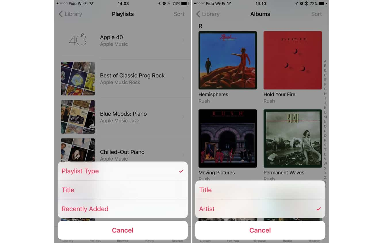 Sorting Playlists, Songs, and Albums in the Music app