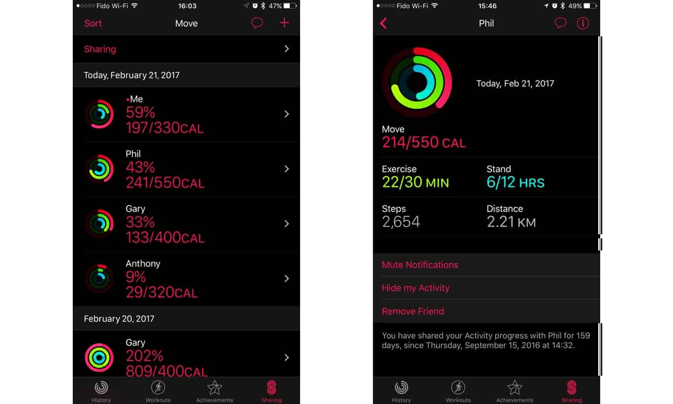 Muting Activity Sharing Notifications from friends on Apple Watch