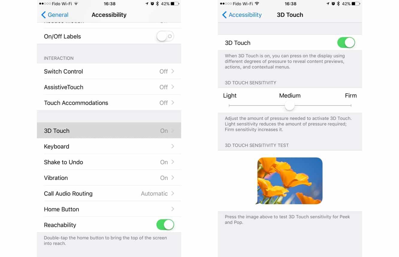 Adjusting 3D Touch Sensitivity