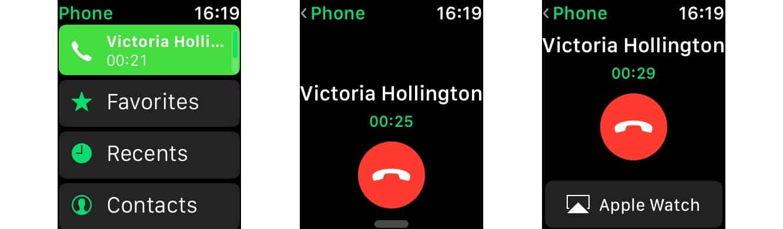Handing off phone calls to Apple Watch