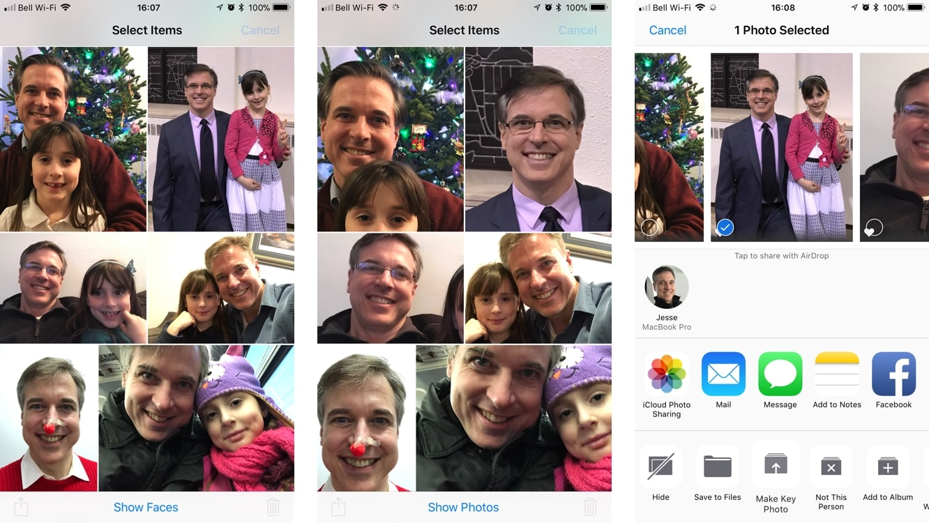 Changing the face image for people in Photos