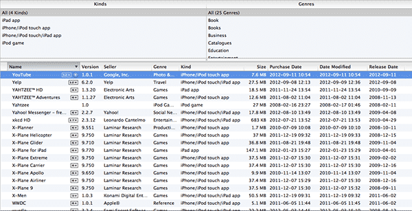 Sorting and Filtering Apps in iTunes