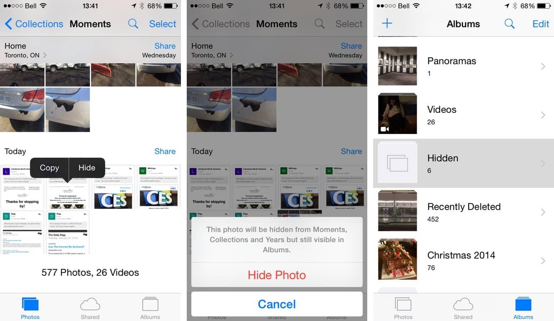 Hiding Photos in the iOS 8 Photo Library