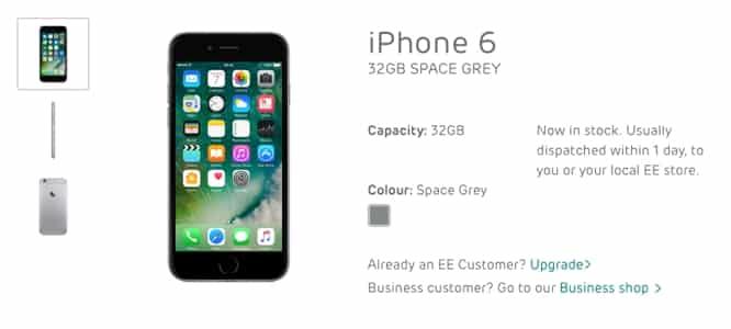 UK carrier EE begins selling 'new' 2017 32GB iPhone 6 model