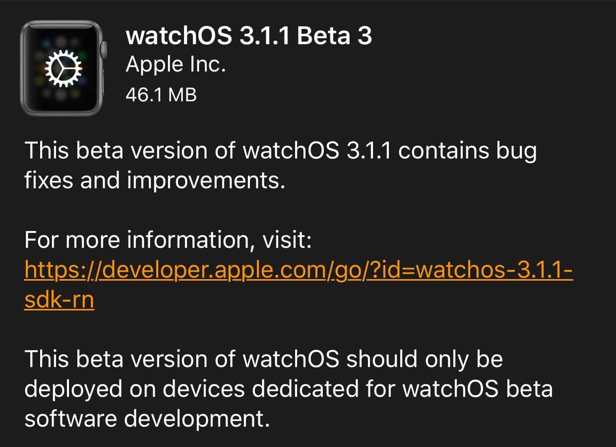 Apple releases third developer beta for watchOS 3.1.1